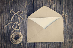 Blank white paper card with brown envelop Stock Photos