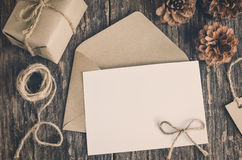 Blank white paper card with brown envelop Royalty Free Stock Photo