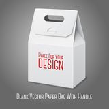 Blank white paper packaging bag with handle. Blank white paper packaging bag with handle and place for your design and branding. Vector illustration Stock Images