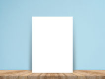 Blank white paper poster on plank wooden floor and concrete wall, Template mock up for adding your content Stock Images