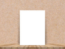 Blank white paper poster at tropical plank wooden floor and paper wall, Template mock up for adding your content. Royalty Free Stock Photo