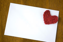 Blank white paper with red heart Royalty Free Stock Images