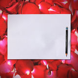 Blank white paper on rose petals background Royalty Free Stock Photography