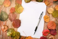 Blank paper sheet and pencil on a wooden surface with autumn leaves Royalty Free Stock Photos