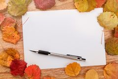 Blank paper sheet and pencil on a wooden surface with autumn leaves Stock Images