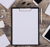 Blank white paper sheet in a clip folder Stock Photography