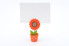 White paper on flower pot Royalty Free Stock Photo