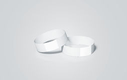 Blank white paper wristbands mock ups, 3d rendering. Royalty Free Stock Photo