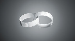 Blank white paper wristbands mockups, depth of field effect Stock Image