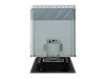 Blank white parked semi trailer, front view Royalty Free Stock Image