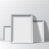 Blank White Pictures Frames Stock Photo
