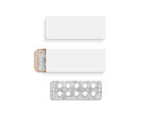 Blank white pill box design mockup set, isolated, 3d illustration Stock Image
