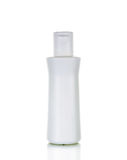 Blank white plastic cosmetics bottle isolated Stock Photography