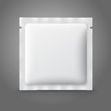 Blank white plastic sachet for medicine, condoms, Stock Image