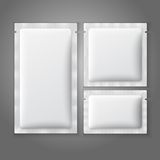 Blank white plastic sachets for coffee, sugar, Stock Photo