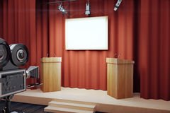 Blank white poster in conference hall with tribune and vintage c Stock Images