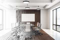 Blank white poster in conference room sketch. Conference room interior sketch with meeting table, chairs and blank white poster on wooden wall. 3D rendering Stock Photography