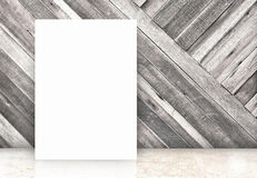 Blank white poster at diagonal wooden wall and marble floor room Stock Photos