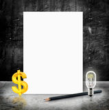 Blank White poster with dollar sign and lightbulb and pencil in Stock Photo