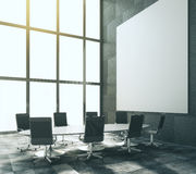 Blank white poster in modern conference room with glassy oval ta Stock Photos