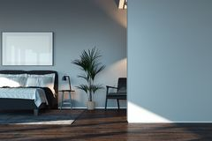 Blank white poster in modern stylish bedroom above cozy bed, 3d rendering. stock illustration