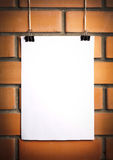 Blank white poster on a rope Stock Image