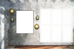 Blank white poster and vintage lightbulbs on concrete wall Royalty Free Stock Image