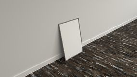Blank white poster in wooden frame standing on the floor. Blank white poster in old wooden frame standing on the floor near the wall. Picture or photo mockup. 3D Stock Photo