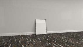 Blank white poster in wooden frame standing on the floor. Blank white poster in old wooden frame standing on the floor near the wall. Picture or photo mockup. 3D Stock Image