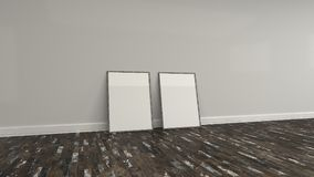 Blank white poster in wooden frame standing on the floor. Blank white poster in old wooden frame standing on the floor near the wall. Picture or photo mockup. 3D Stock Photography
