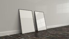 Blank white poster in wooden frame standing on the floor. Blank white poster in old wooden frame standing on the floor near the wall. Picture or photo mockup. 3D Stock Images