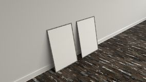 Blank white poster in wooden frame standing on the floor. Blank white poster in old wooden frame standing on the floor near the wall. Picture or photo mockup. 3D Stock Photos