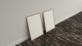 Blank white poster in wooden frame standing on the floor. Near the wall. Picture or photo mockup. 3D render illustration Stock Photos