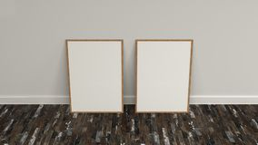Blank white poster in wooden frame standing on the floor. Near the wall. Picture or photo mockup. 3D render illustration Royalty Free Stock Photography