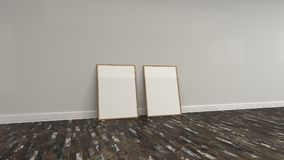 Blank white poster in wooden frame standing on the floor. Near the wall. Picture or photo mockup. 3D render illustration Stock Images