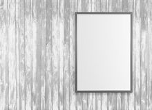 Blank white posters on the wall in empty subway with wooden bench on the floor, mock up 3D Render Royalty Free Stock Image