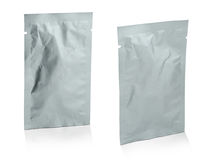 Blank white product packaging on white background. Royalty Free Stock Images