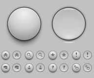 Blank white push button template Royalty Free Stock Images