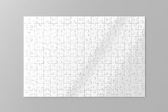 Blank white puzzles game mockup Royalty Free Stock Photos