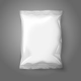 Blank white realistic foil snack pack isolated on. Grey background with place for your design and branding. Vector illustration Stock Images
