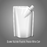 Blank white realistic plastic pouch with cap, Stock Photography