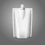 Blank white realistic plastic pouch with cap, Stock Image