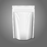 Blank white realistic plastic pouch with zipper. Royalty Free Stock Photos