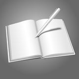 Blank white realistic vector opened book and pen Royalty Free Stock Image