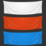 Blank white, red and blue cloth welcome banners Royalty Free Stock Image