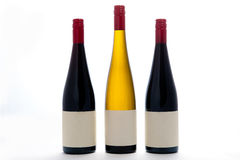 Blank White And Red Wine Bottles Stock Photos