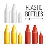 Blank White, Red, Yellow Plastic Bottles Vector. 3D Realistic Blank. Plastic Red Tomato, Mustard, Sauce, Mayonnaise. Bottles. Mock Up Good For Branding Design Stock Image