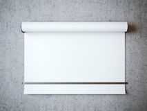 Blank white roll on a concrete wall. Blank white roll on a gray concrete wall Royalty Free Stock Photo