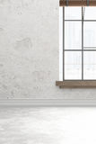 Blank white room wall interior with ligt shadow from windows for design,3D illustration and rendering room Stock Photo