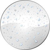 Blank white round label with water dew drops. White round label with dew drops vector template. Blank tag covered with water droplets Stock Image